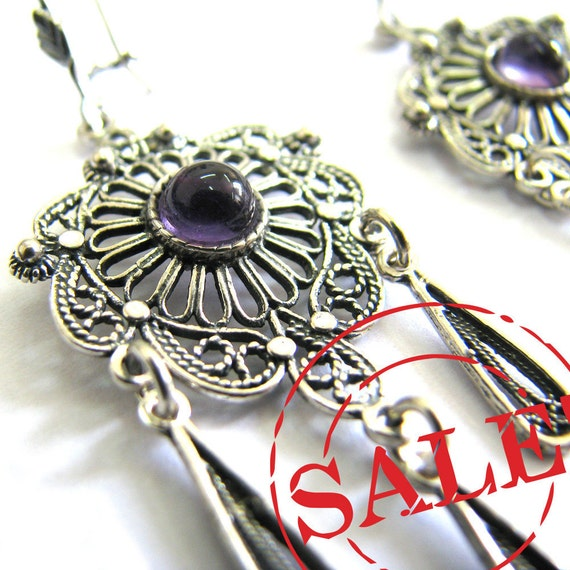 SALE 925 Sterling Silver Filigree Earrings Amethyst Gemstones, Add Coupon Code Marchsale02 At Checkout And Save 10%  Free Shipping ID64