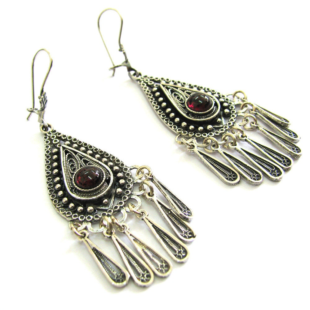 925 Sterling Silver, Filigree, Earrings Decorated With Garnet Gemstones -  Free Shipping ID77