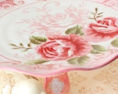 Pretty in Pink Cake Stand Dessert Pedestal Cake Plate with a touch of vintage