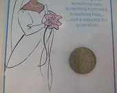 Lucky Sixpence Bride Good Luck Charm Gift Card Insert Gift