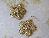 Gypsy Rose earrings- refashioned vintage aurora borealis jewelry OOAK