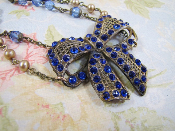 Every Days a Gift- Vintage Refashioned Rhinestone Pendant Necklace- Cobalt, Royal Blue- Bow Tie-   One-of-a-Kind