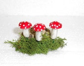 3 Lifelike  Mushrooms, Terrarium Mushrooms,  Red With White Spots, Planter Mushrooms