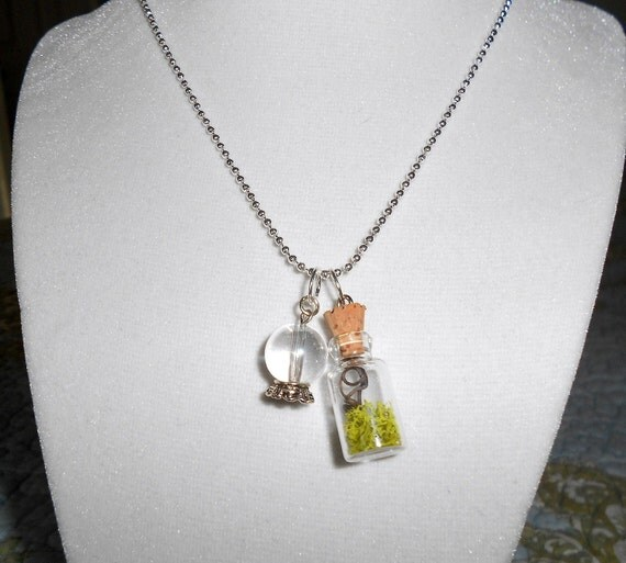 Terrarium Pendant Necklace,  Real Witch Vine and Crystal Ball Charm, Photo of Vine included