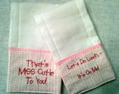 2 Cute Baby Girl Burp Cloth Towel Shower Gift