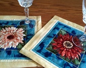 Mini Quilt Flower Floral Mat Mug Rug Candle Hotpad Snack Mat Trivit