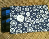 ON SALE - CLOSEOUT Kindle Fire eReader Nook Sony Sleeve Pouch Bag Clutch Navy White Circles Geometric Abstract