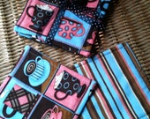 ON SALE - CLOSEOUT Quilted Debbie Mumm Coffee Mug Rug Reversible Coaster Set Blue Pink Brown