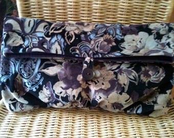 Foldover Clutch ON SALE - CLOSEOUT  Purple Blue Brown Black Floral Print