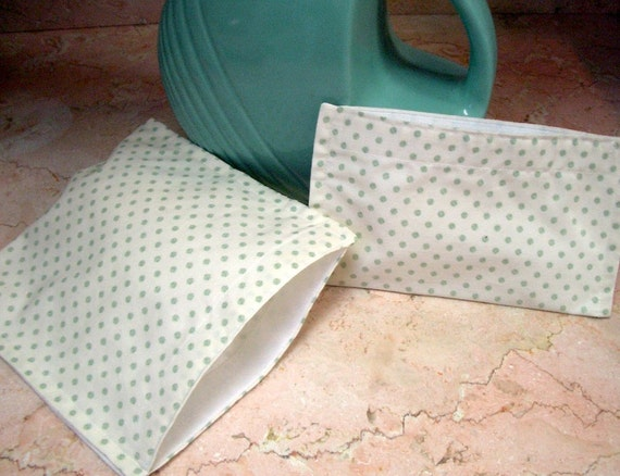 Reusable Sandwich  Snack Bag Set Back To School Green Dots