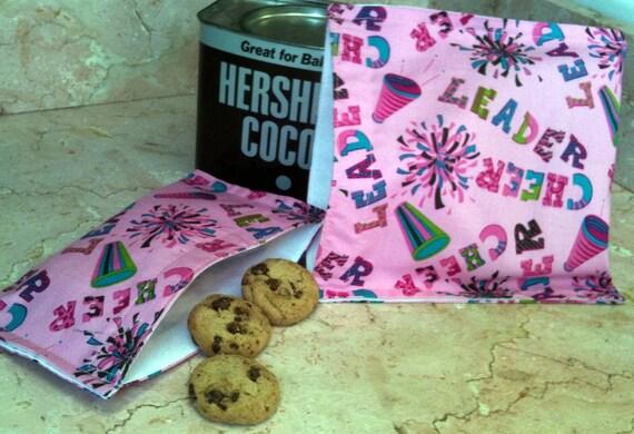 Reusable Sandwich Snack Bag Set Back To School Cheerleaders