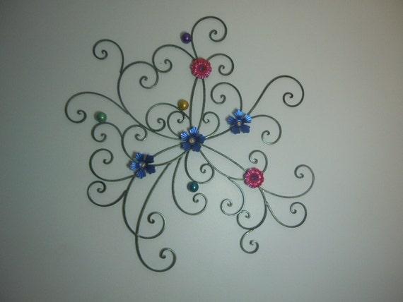 Art Nouveau Iridescent Floral Metal Wall Art