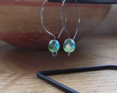 Reserved for Stephanie - Oval Hoops Niobium Earrings with a Blue Purple Crystal