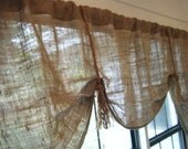 Burlap Window Valance, 66W/75W/48W X 25L, 'The HEMINGWAY' with Jute Rope Tassels by Jackie Dix
