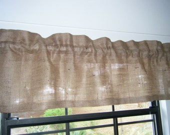 """Burlap Valance 36""""- 96"""" Wide X 14""""Long, 'The Palmetto' by Jackie Dix"""