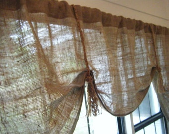 "Burlap Window Valance, 42""W/108""W X 25L, 'The HEMINGWAY' with Fringed Jute Ties by Jackie Dix"