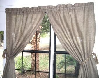 "Burlap Country Curtains,  76"" wide for 2  X 36""/96""long,'the COUNTRY CURTAIN Pair'  by Jackie Dix"