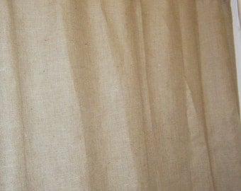 "Burlap Shower Curtain, 72"" wide X 72""- 96"" long, Grommet Top with Free Jute Tieback by Jackie Dix"