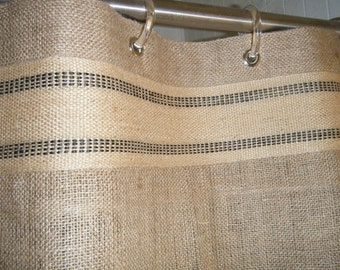 "Burlap Shower Curtain, 72"" wide X 72""- 96"" long, Grommet Top with Striped Jute Band, 'The Daytona Black' by Jackie Dix"