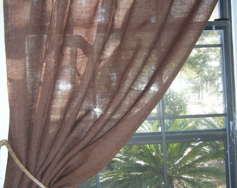 """Burlap Curtain, 'Premium Brown', 56"""" Wide X 36 - 96"""" Long, 'THE URBAN  PANEL'  with Fringed Jute Tieback by Jackie Dix"""