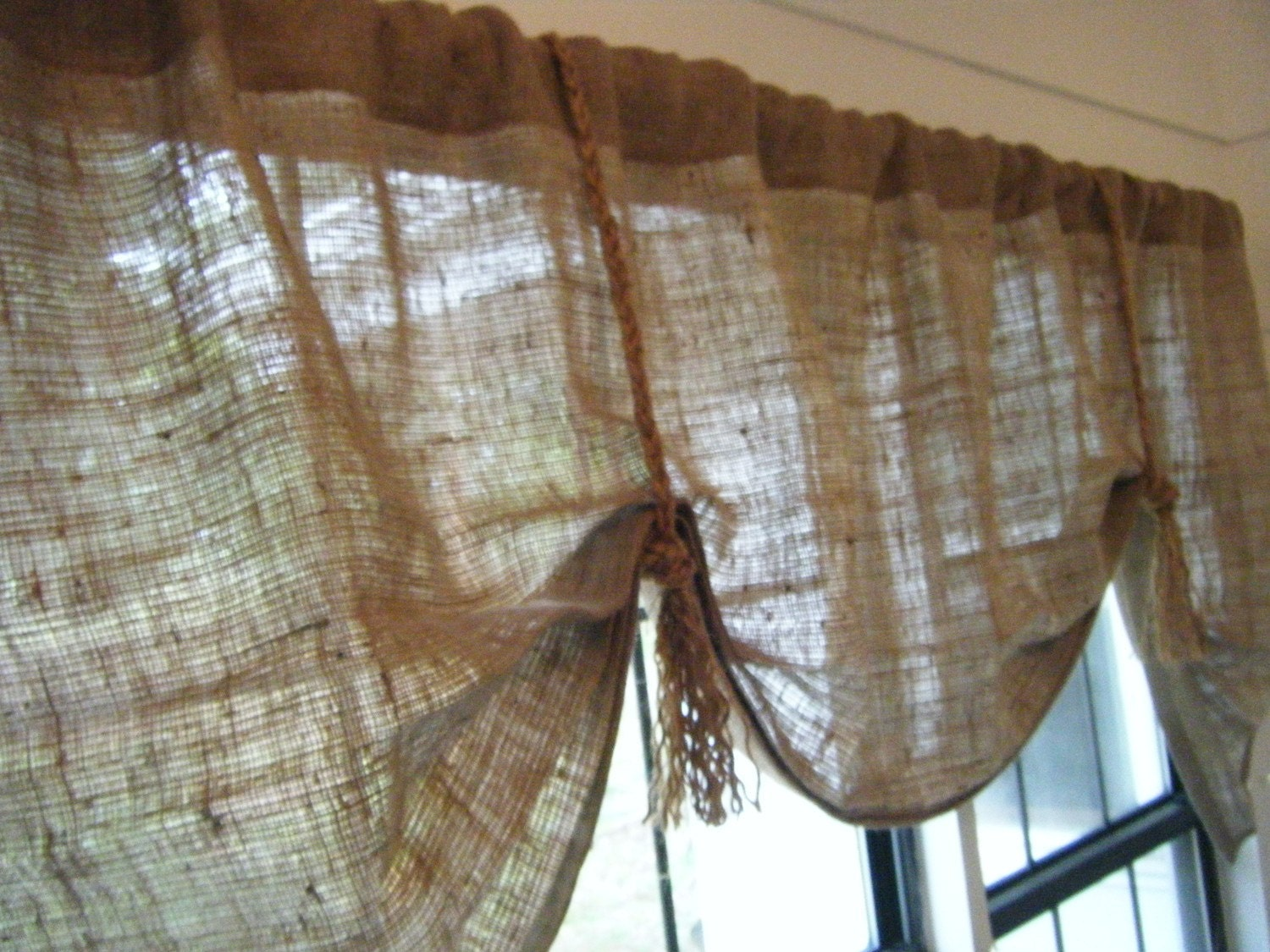 Burlap window treatments -  Zoom
