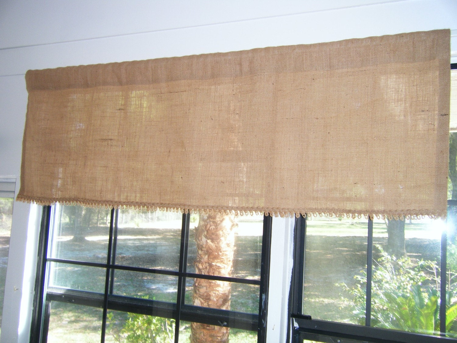 Burlap Valances For Windows : Burlap window valance wide x