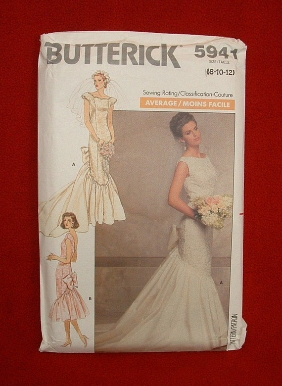 Butterick 5941 Vintage 1987 Mermaid Style Wedding Gown Pattern