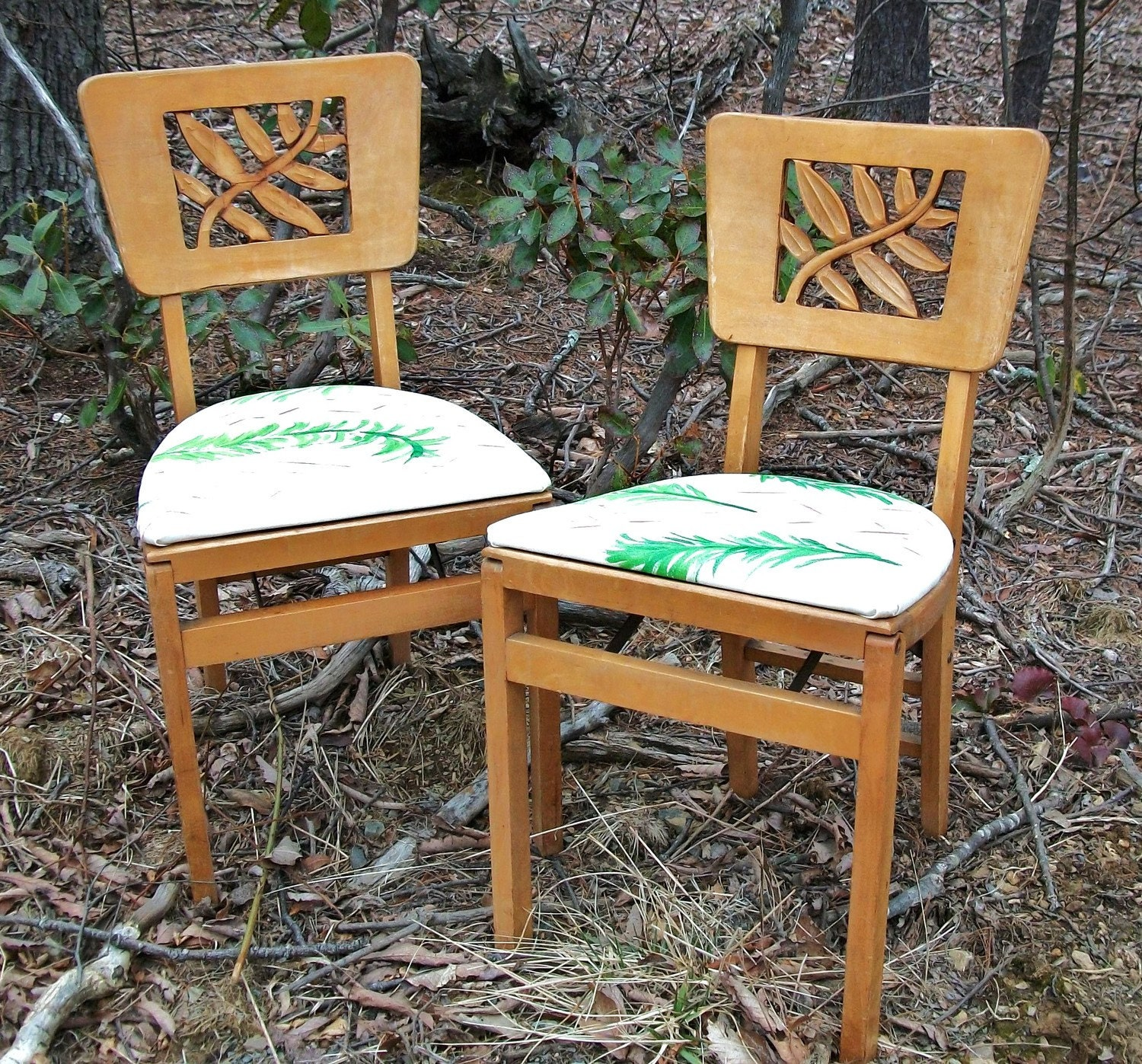 pair of vintage stakmore carved folding chairs