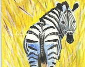 RESERVED ACEO Original Acrylic Painting Art Card  Tall Grass Zebra and Lion