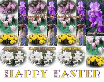 Easter Bookmarks, Laminated  - Set of Four - Art  Photos - Delphiniums Irises Daffodils Lilies Tulips