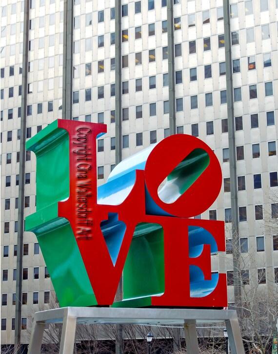 Love in Philadelphia - Gift LOVE - Home Office Decor - Him or Her Gift Under 35 Dollars - Architecture - American Handmade