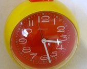 Vintage Blessing Clock West Germany Mod Orange Yellow