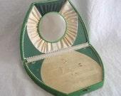 Vintage Mirrored Jewelry Box Emerald Green Austrian 8 in (22cm) wide