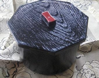 Vintage Black Enamel Box Japanese Faux Wood Grain