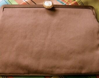 Mid Century Clutch Evening Bag Mocha Brown Satin Mother of Pearl Mel-Ton