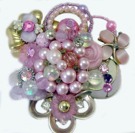 Vintage Jewelry Pink Brooch, upcycled brooch, recycled, reclaimed, repurposed, reused vintage jewelry brooch, ooak