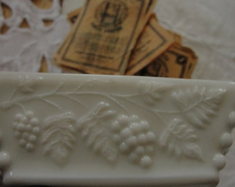Vintage Westmoreland milk glass ashtray and cigarette coupons