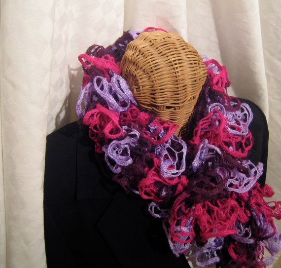 Valentine's Day Special Fuchsia Lilac Maroon flamenco frilly loopy long fashion hand knit ruffle scarf  for women