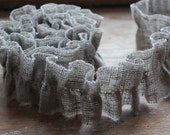 "Linen Garland.  Natural Grey Ruffles.  39"" ( 100cm )  long"