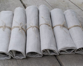 Linen napkins .SET of 10. Natural Grey.