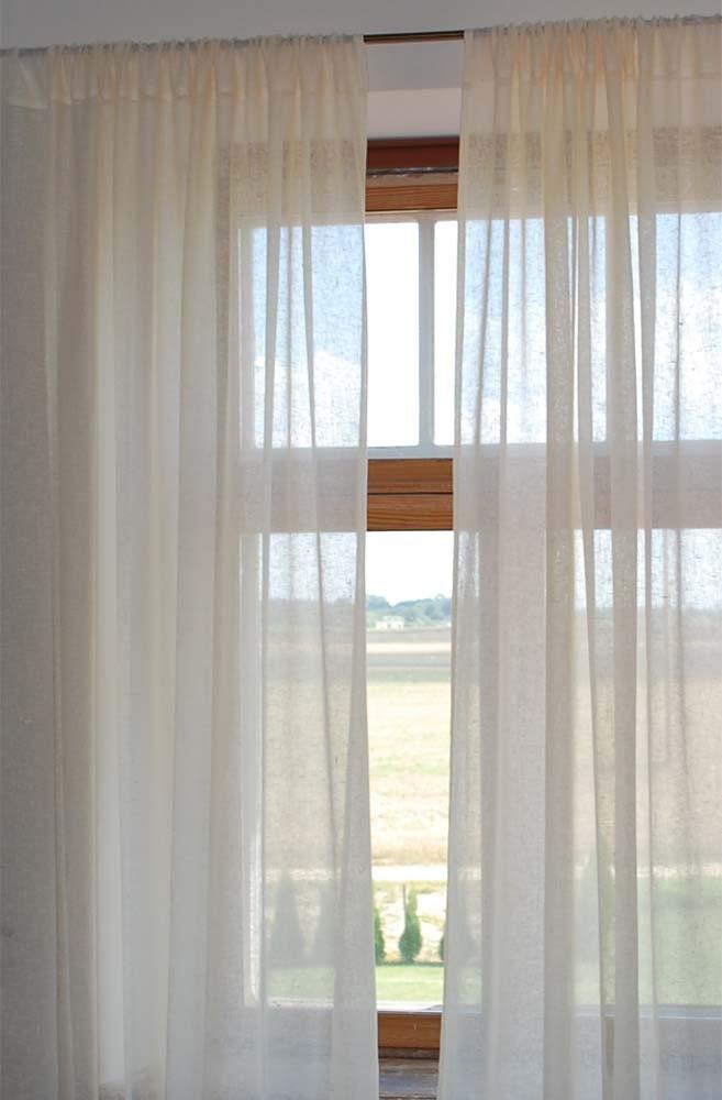 Custom Listing For Marilyn Linen Gauze Curtains Ivory Set