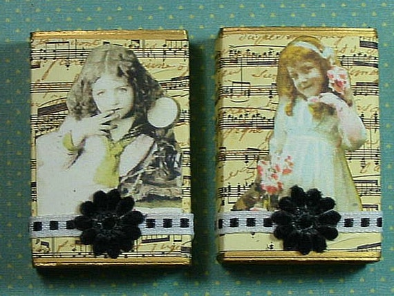 Altered Matchbox Gift Boxes - Musical Cuties