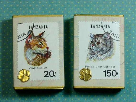 Altered Matchbox Gift Boxes - Postal Cats