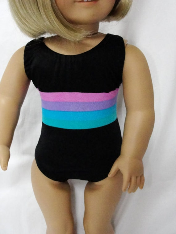 American Girl Doll Clothes - Black Colored Stripe Swimsuit for 18 Inch Dolls