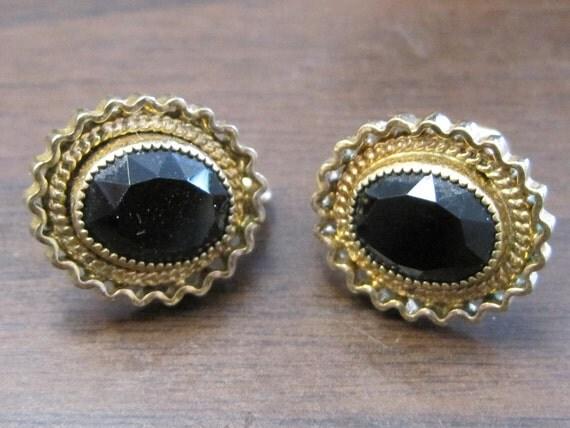 Victorian Look Black Onyx Ornate Filigree Screw Back Gold Filled Screw Backs 1980s Vintage Earrings