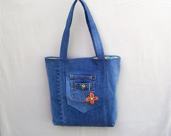 Spring Flower - blue denim tote with embroidered flowers, handmade from recycled jeans