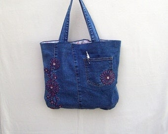 Pink Flowers - small navy denim tote with pink flower embroidery, handmade from recycled jeans