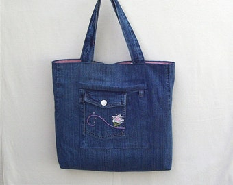 Pink Dreamer - gray blue denim tote with pink embroidery and flower, handmade from recycled jeans