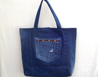 Alpine Spring - large denim tote with pockets, handmade from reycled jeans