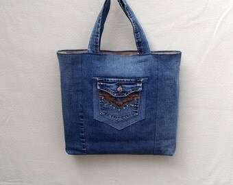 Rodeo Pal - blue denim tote with western style embroidered pocket, handmade from recycled jeans